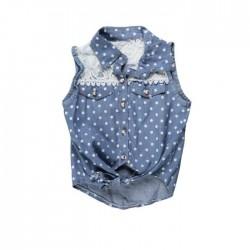 Chemise sans manches - fille - bleu petits pois détails dentelle