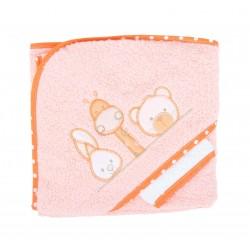 Parure de bain girafe lapin et ours orange bébé
