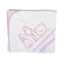 Parure de bain girafe lapin et ours blanc/violet bébé