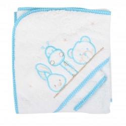 Parure de bain girafe lapin et ours blanc/rose bébé