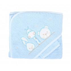 Parure de bain girafe lapin et ours bleu bébé