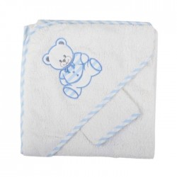 Parure de bain nounours blanc bleu bébé garçon