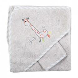 Parure de bain girafe blanc/gris bébé