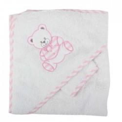 Parure de bain nounours blanc rose bébé fille