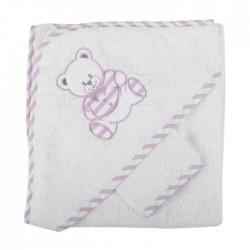 Parure de bain nounours blanc violet bébé fille