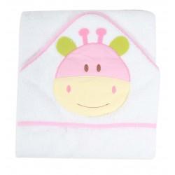 Parure de bain motif animal blanc/rose bébé 100% coton