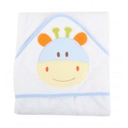 Parure de bain motif animal blanc/bleu bébé 100% coton