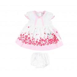 Ensemble bébé fille 3 pièces - robe , bloomer et bandeau rose
