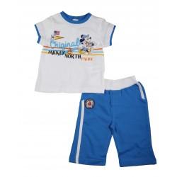 Mickey - ensemble deux pièces tee shirt et pantalon - bébé garçon - blanc et bleu