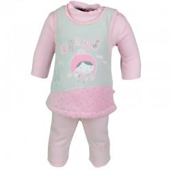 Ensemble trois pièces - Tee shirt manche longue, gilet sans manche, pantalon - bébé fille - rose