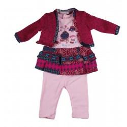 Ensemble trois pièces gilet, pull et pantalon - bébé fille - rose