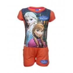 Reine des neiges - ensemble deux pièces tee shirt et short - fille - orange