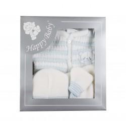 Coffret tricot 5 pièces blanc/bleu bébé garçon
