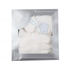Coffret tricot 4 pièces blanc/bleu bébé garçon
