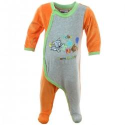 Grenouillère bébé Tom et Jerry orange et gris