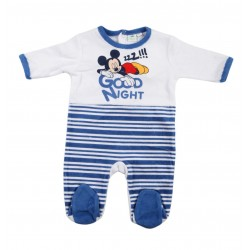 Grenouillère bébé garçon Mickey blanc et bleu foncé
