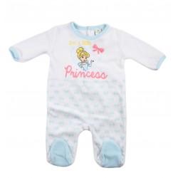 Grenouillère bébé fille Disney princesse blanc et bleu