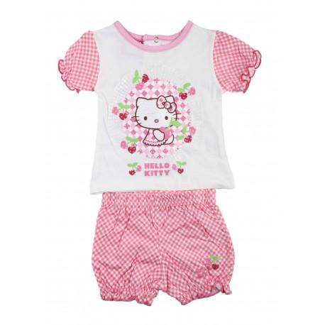 Ensemble deux pièces bébé fille Hello Kitty rose