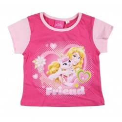 Tee shirt fille Disney princesses fuschia