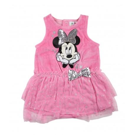 Robe sans manche velours bébé fille Minnie rose