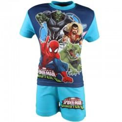 Ensemble deux pièces tee shirt et short garçon bleu Spiderman
