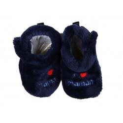 chausson j'aime maman bébé garçon bleu