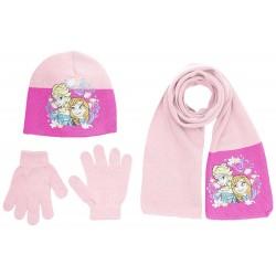 Bonnet gant écharpe fille rose Reine des neiges