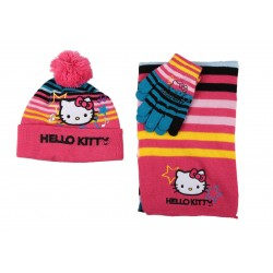 Hello Kitty - bonnet gant écharpe - fille - multicolore