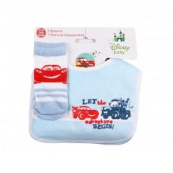Lot de deux bavoirs et une paire de chaussette bébé garçon bleu Cars 0 à 6 mois