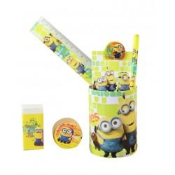 Minions boîte gomme règle taille crayon livre et crayon de papier garçon