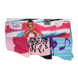 Lot de 3 chaussettes Disney Violetta fille rose et bleu