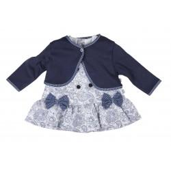Ensemble 2 pièces robe et gilet bébé fille blau marine