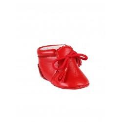 Chaussures en cuir avec lacets décoratifs bébé rouge