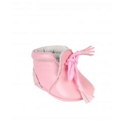 Chaussures en cuir avec lacets décoratifs bébé fille rose