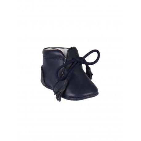 Chaussures en cuir avec lacets décoratifs bébé bleu marine