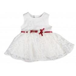 Robe de cérémonie à dentelle ceinture rouge bébé fille blanc