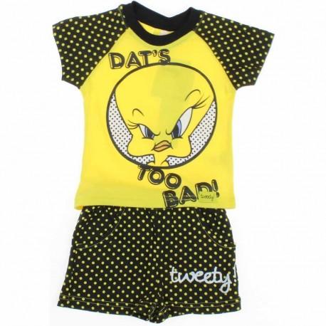 Ensemble deux pièces tee shirt et short Looney Tunes Titi jaune