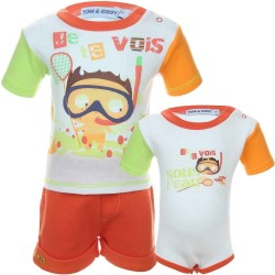 Ensemble trois pièces tee shirt, short et body 100% coton bébé garçon orange