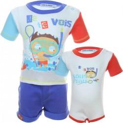 Ensemble trois pièces tee shirt, short et body 100% coton bébé garçon bleu