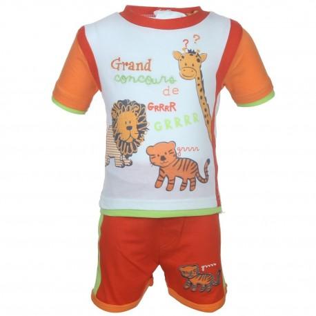 Ensemble deux pièces tee shirt et short animaux bébé garçon orange