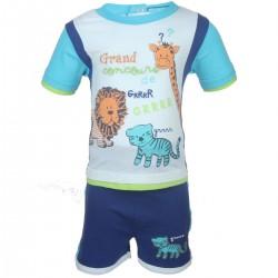 Ensemble deux pièces tee shirt et short animaux bébé garçon bleu