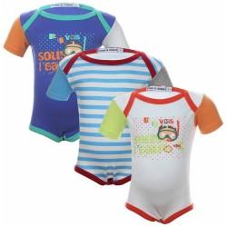 Lot de trois bodies 100% coton bébé garçon multicolore