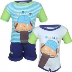 Ensemble trois pièces tee shirt, short et body 100% coton bébé garçon bleu clair