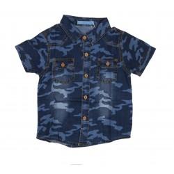 Chemise motif militaire garçon bleu pur coton