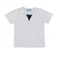 Tee shirt bicolore garçon blanc