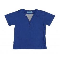Tee shirt bicolore garçon bleu royal