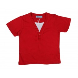 Tee shirt bicolore garçon rouge