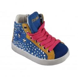Basket à lacet, zip et strasses bébé fille bleu royal