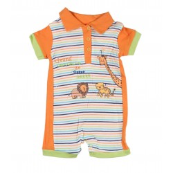 Barboteuse motif animaux bébé garçon orange