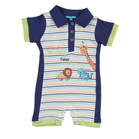 Barboteuse motif animaux bébé garçon bleu marine